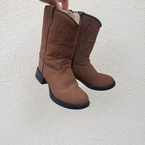 Old West Brown Kids Cowboy Boots